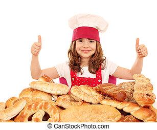 poco, Arriba, panadería, pulgares, niña, panes