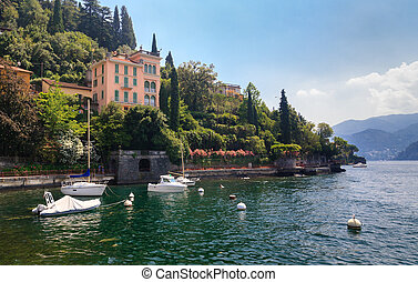 lake Como Italy - View of Varenna town at lake Como Italy...