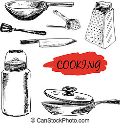 Set of kitchen utensils. Hand drawn illustrations
