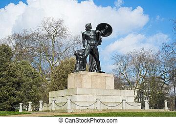 estatua, aquiles, Hyde, parque, londres, Reino Unido,...