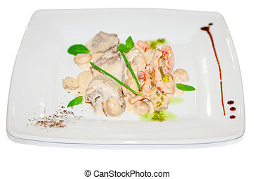 Meat with mushroom in white sauce on plate restaurant menu