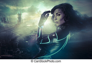 Future woman concept, black latex with neon lights over city...