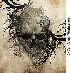 Sketch of tattoo art, skull with tribal flourishes - Sketch...