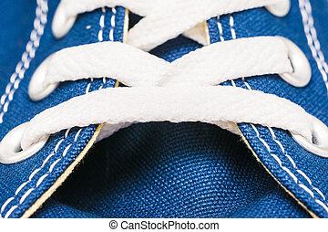 Blue Sneakers Shoe Laces Close Up Details