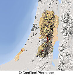 Gaza Strip and West Bank, shaded relief map - Gaza Strip and...
