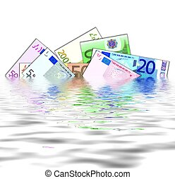 banknotes in water