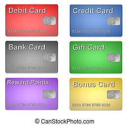Set of isolated money cards