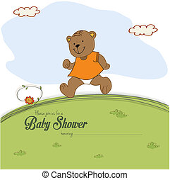 baby shower card with teddy bear chasing rushed to event,...