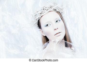 Ice Queen - Fantasy ice queen theme, young beautiful woman,...