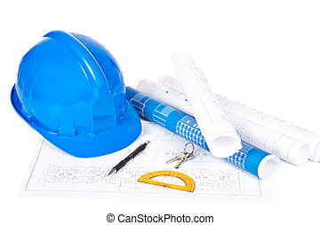 Blueprints and drawing tools - Construction plans with hard...