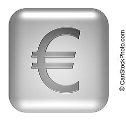 euro symbol button silver
