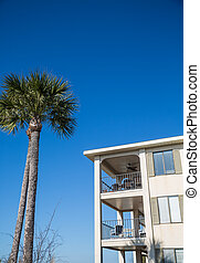 Tropical Condo Under Blue Sky and Palm Tree