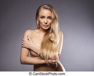 Sensuous naked woman with long hair - Portrait of a sensuous...
