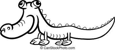 crocodile cartoon coloring page - Black and White Cartoon...