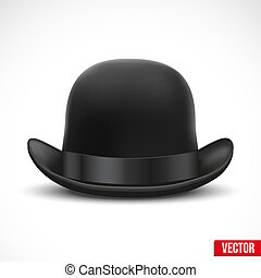 Black bowler hat on a white background vector - Black bowler...