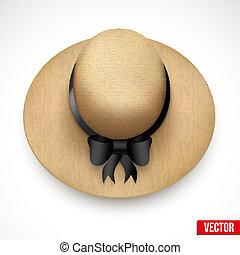 Vintage Hat for the garden or beach Vector - Vintage round...