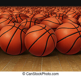 Basketball Group - Basketball group on a hardwood court...