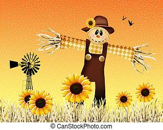 Scarecrow in autumn - illustration of scarecrow in autumn