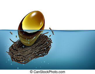Nest Egg Crisis - Nest Egg crisis financial concept as a...