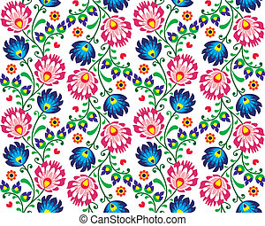 Seamless folk Polish pattern - wzor - Repetitive colorful...
