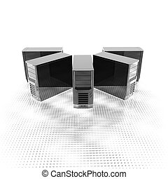 3d computer servers in a row isolated on a white background