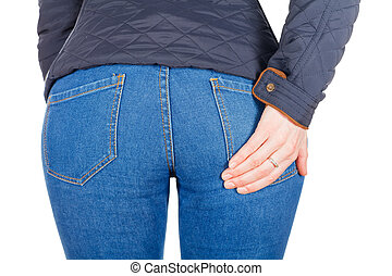 Back of the girl - Back of the chic girl in jeans