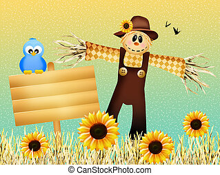 Scarecrow in autumn - illustration of scarecrow in autumn