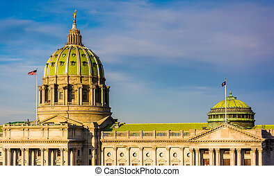 Evening light on the Pennsylvania State Capitol in...