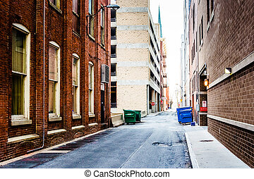 Narrow alley in Harrisburg, Pennsylvania