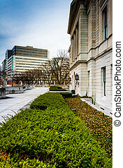Gardens outside the Pennsylvania State Capitol in...