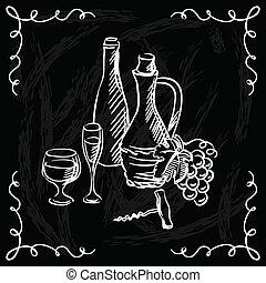 barzinhos, restaurante, lista, fundo,  chalkboard, ou, vinho