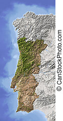 Portugal, shaded relief map - Portugal Shaded relief map...