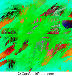 Digital art - Colorful brush strokes on canvas digital art.