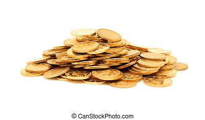 A pile of gold coins isolated