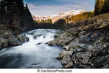 Alpenglow in Scotland - Waterfall in Glen of Orchy in...