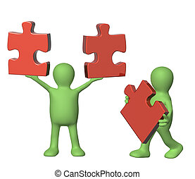 Two puppets with puzzles - Success of teamwork. Two puppets...