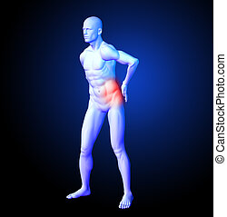 Medical man with back ache - 3D render of a medical man with...