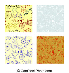 Bicycles - Background of seamless pattern with silhouettes...