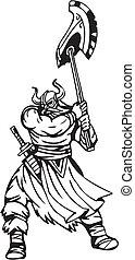 nórdico, viking, -, vector, Ilustración,...