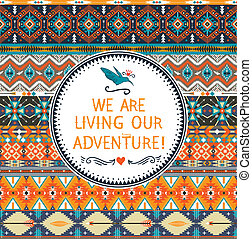 Hipster seamless colorful tribal pattern with geometric...