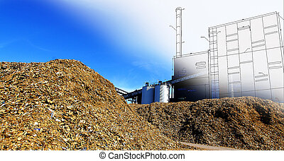 bio power plant drawing with storage of wooden fuel against...