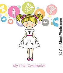 menina, primeiro, comunhão