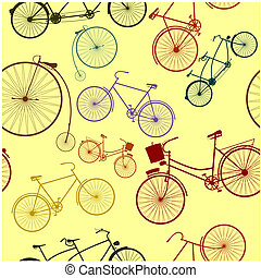 Pattern - Seamless pattern with silhouettes of retro bike