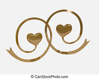 3d two hearts gold