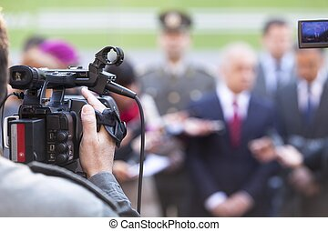 News conference - Covering an event with a video camera