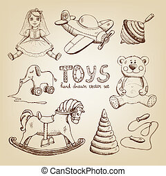 retro hand drawn toys: doll airplane whirligig teddy bear