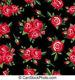 roses pattern on black