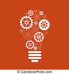 light bulb of gears and cogs concept on red background