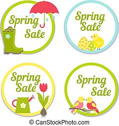Conjunto, primavera, Etiquetas, venta, cuatro,  circular