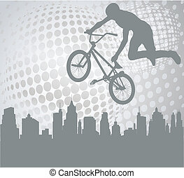 cyclist on the abstract background